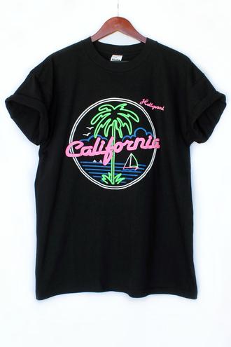 california t-shirt clothes hipster menswear mens t-shirt beach the golden state justvu.com back to school palm tree print