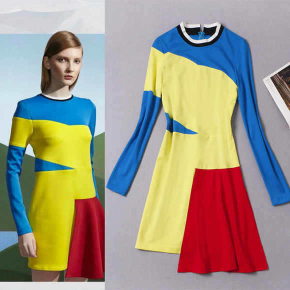 color block women dress patchwork fashion dresses 2014