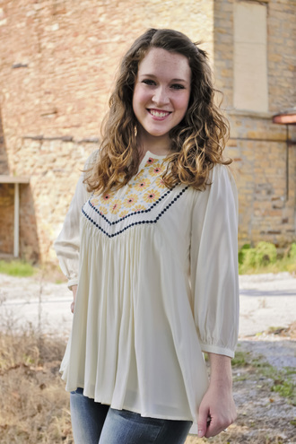 top buttons blouse floral bonanza fall outfits fall collection off-white long flowy lined