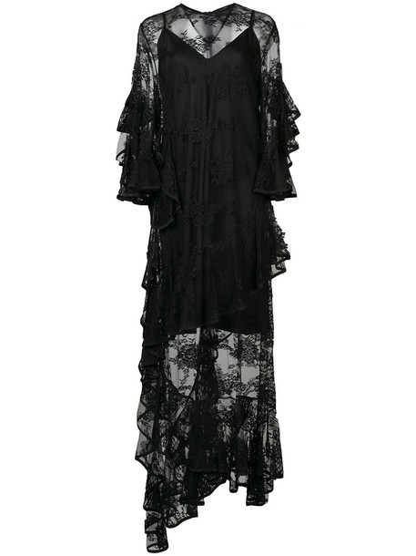 gown sheer women embellished black dress
