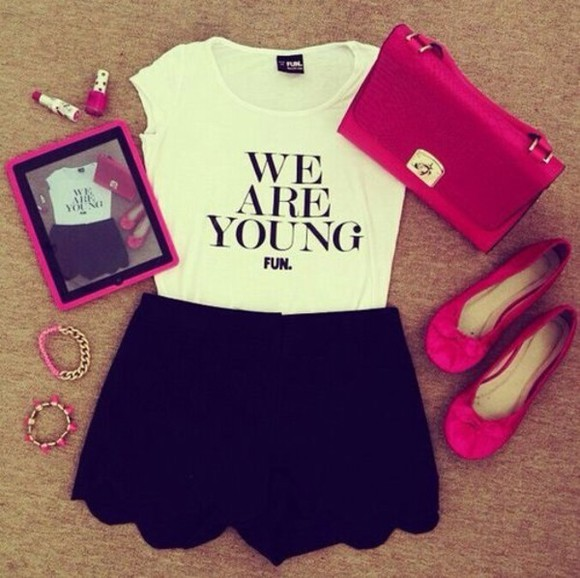 pink shoes blouse fun skater skirt ipad hipster white crop top black skater skirt pink wallet