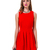 Red Sleeveless Open Scallop Back Pleated Dress - Sheinside.com