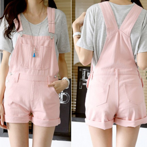 Romper Girly Fashion Trendy Cute Overalls Light Pink