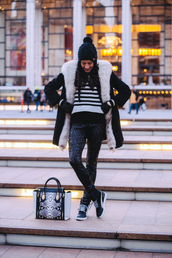 nycpretty,blogger,winter coat,striped sweater,pom pom beanie,snake print