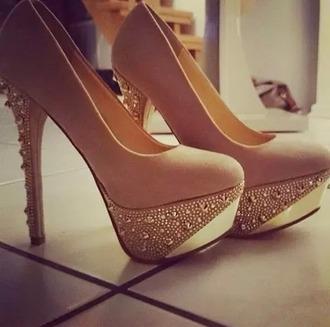 shoes baige high heels