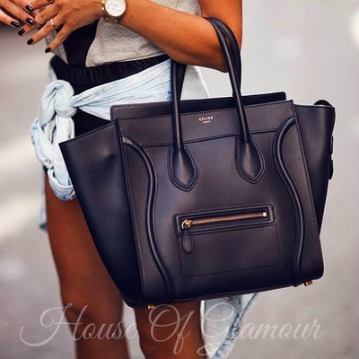 Celine whole sale Luggage Tote Bag In Full Black Lambskin and