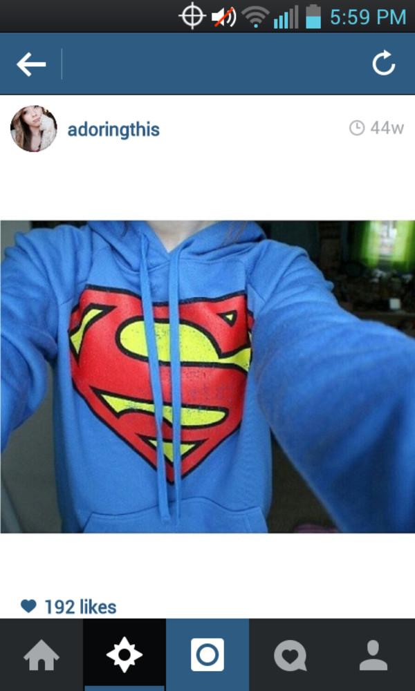coat superman super man sweatshirt pullover blue red yellow hoodie shirt