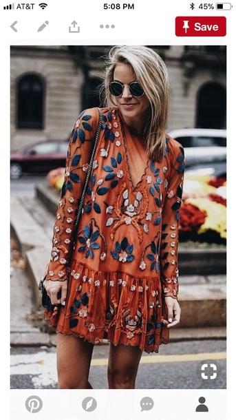 dress orange embroidered dress orange dress embroidered boho dress floral boho