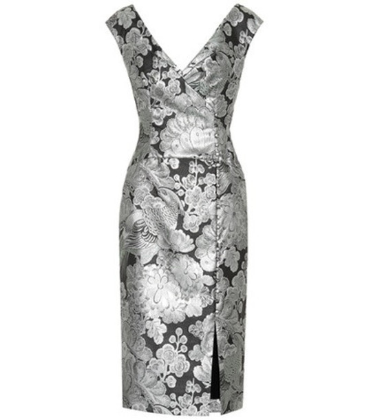 Erdem Metallic floral jacquard dress in silver