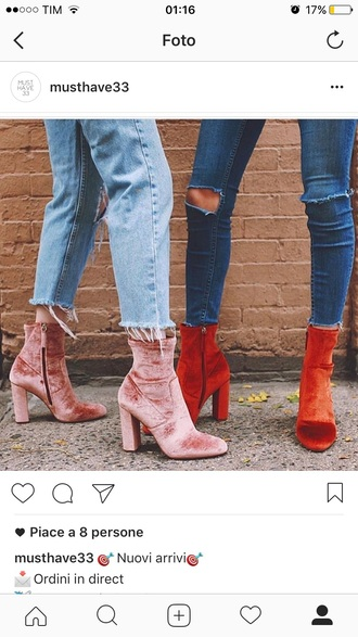 shoes velevet velvetshoes pinkvelvet pink shoes boots velvetboots pinkboots