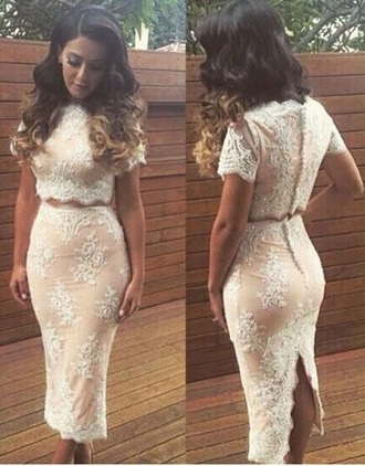 dress two-piece lace nude blush prom evening outfits