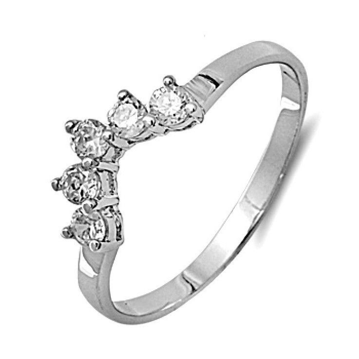 Tiara Rings with Clear Cubic Zirconia Sterling Silver 925 Rhodium Plated Jewelry | eBay