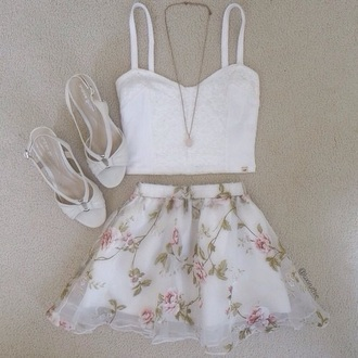 skirt white floral pink green leaves flowers floral skirt