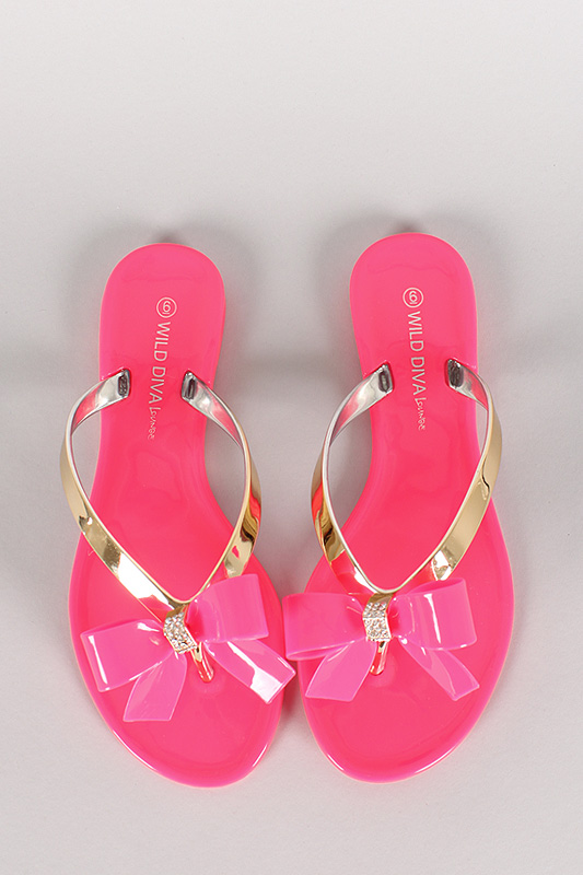Wild Diva Lounge Joanie-05 Jelly Bow Thong Flat Sandal