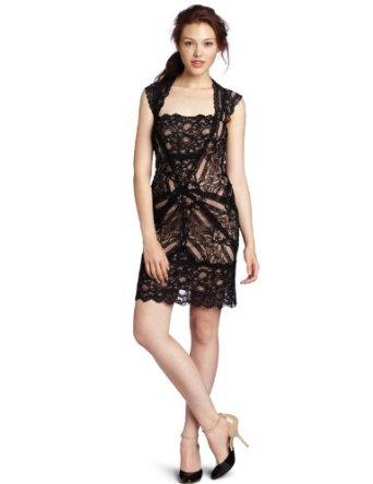 Lace dress black cut out back