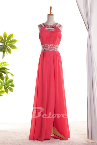 dress watermelon chiffon formal gown pleated formal gown