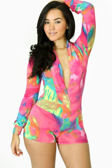 multicolor dress jumpsuit romper bodycon multi colored sexy