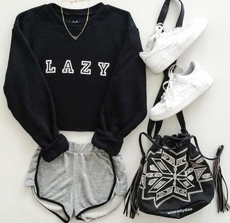 sweater bag lazy day hispter cool black hoodie sweatshirt shorts outfit nike adidas cute comfy lazy  day fall outfits jewelry necklace black dope sporty grey gym clothes grey shorts lazy sweater black shirt