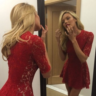 dress candice little dress red dress lace dress candice swanepoel