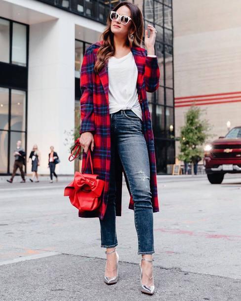 coat tumblr tartan tartan coat t-shirt white t-shirt denim jeans blue jeans high heels heels silver shoes bag red bag sunglasses