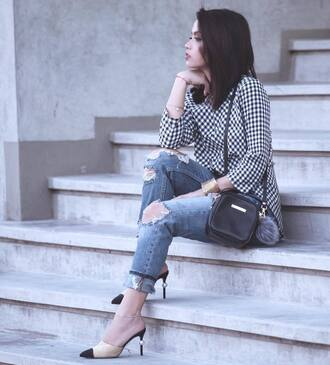 shoes chanel mules tumblr chanel chanel shoes pointed toe jeans denim blue jeans ripped jeans shirt checkered bag black bag three-quarter sleeves