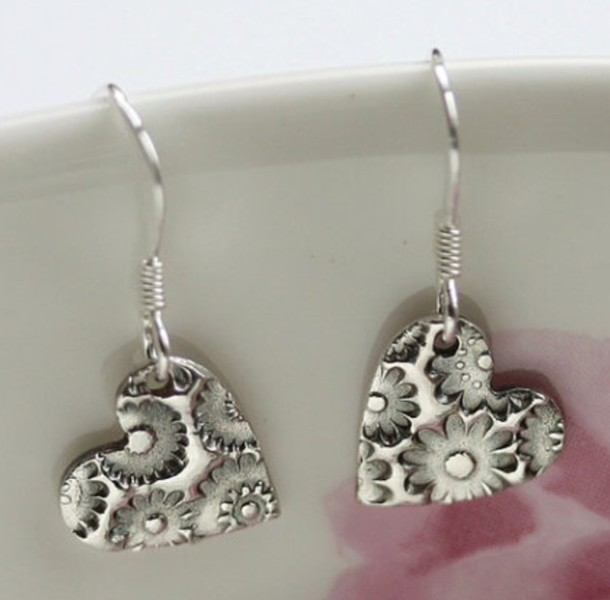 jewels floral cute earings shiny silver heart earrings heart silver earing earrings jewelry store online