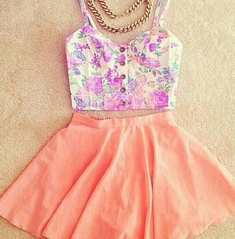 skirt summer outfits skater skirt peach pink salmon summer skirt jewels t-shirt top crop tops floral top floral crop top floral spring