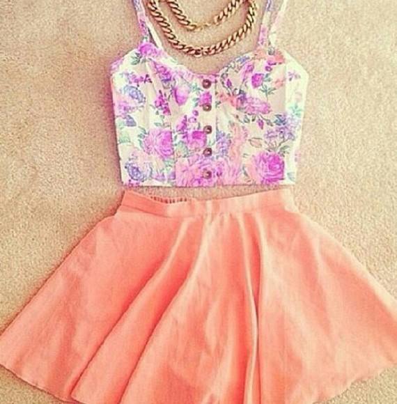 pink salmon skirt summer outfits skater skirt peach summer skirt jewels floral t-shirt top crop tops floral top floral crop top spring