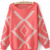 Pink Long Sleeve Geometric Print Pullovers Sweater - Sheinside.com