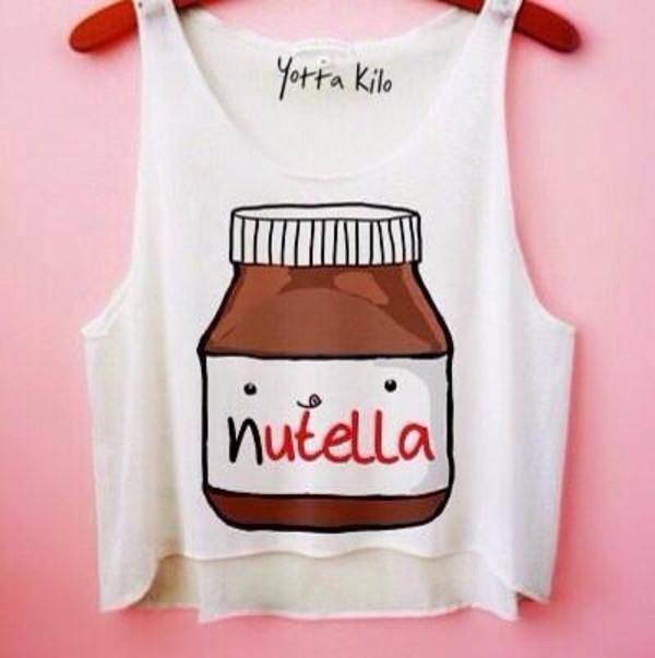 crop tops white crop top nutella nutella crop top cute cute crop top crop tops white crop tops