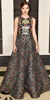 dress,gown,hailee steinfeld,red carpet dress,oscars 2015,patterned dress,couture dress,our favorite dresses 2015