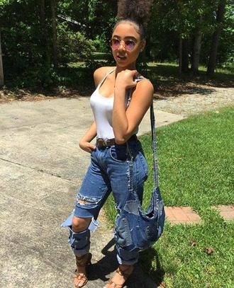jeans syddpink white top ripped jeans jean bag hipster sandals vintage sunglasses round sunglasses belt comfy atl baby georgia peach baby girl bblu $$$$