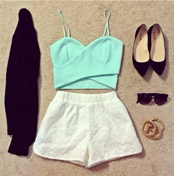 blouse shirt jewels shorts sweater shoes sunglasses tank top