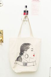 bag,pat mcgrath,tote bag,cotton,painting,graphic tee,red lipstick