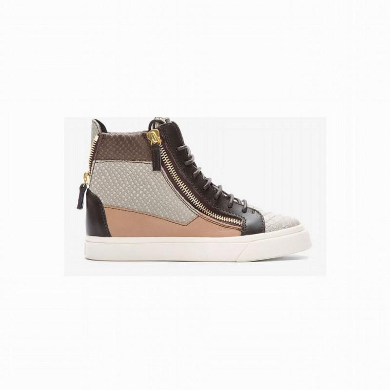 Giuseppe Zanotti Men's High Top Snakeskin London Sneakers