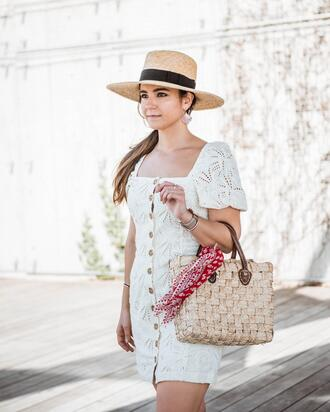 district dress up blogger hat shoes bag scarf jewels straw hat mini dress white dress spring outfits