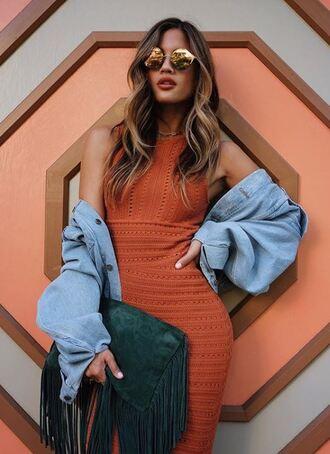 dress orange orange dress blogger rocky barnes round sunglasses denim jacket instagram fringed bag