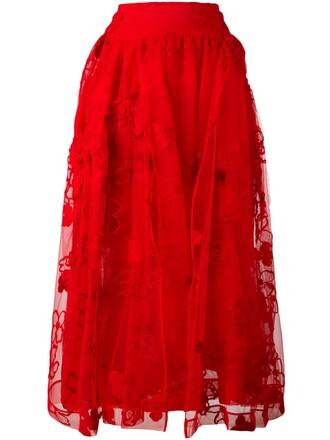 skirt tulle skirt floral red