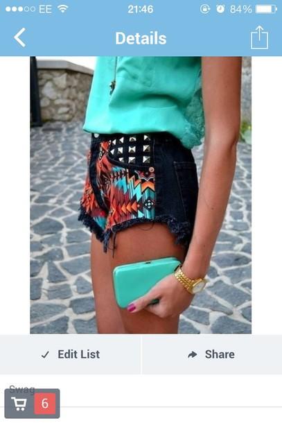 shorts black colorful bright short shorts jems