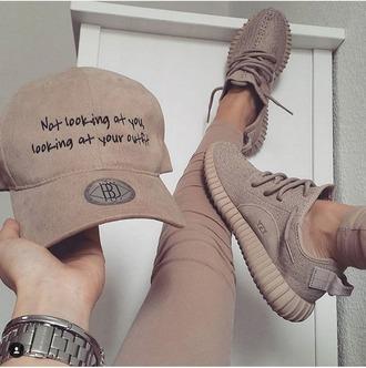 hat cap nude tan baseball cap quote on it beige summer mean blah brown camel