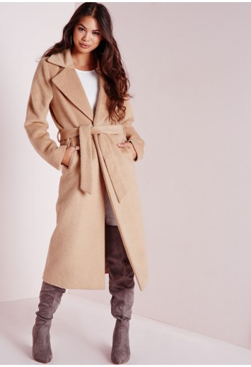 Belted Brushed Wool Coat Camel