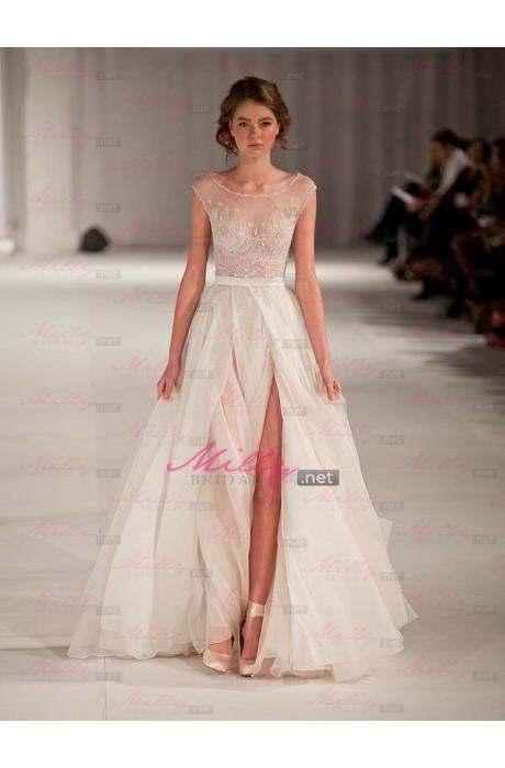 Buy short sleeve floor length scoop 2015 prom dress at millybridal.net
