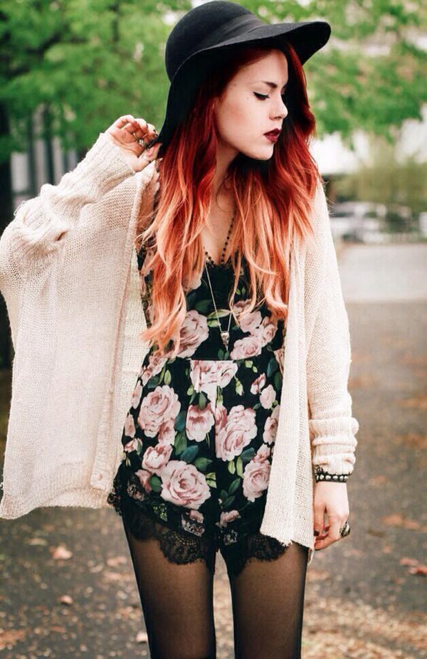 romper floral black pink flowers lace cardigan top le happy jumpsuit blogger style