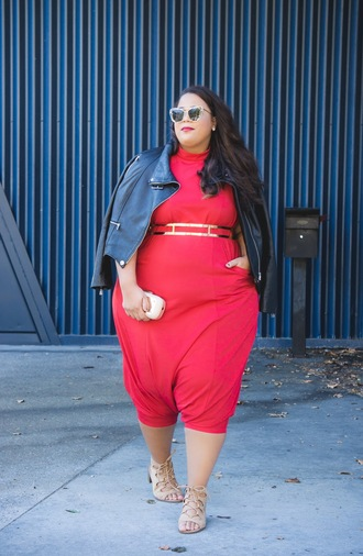 jumpsuit plus size jumpsuit curvy plus size red jumpsuits cropped jumper cropped jumpsuit sandals mid heel sandals sunglasses jacket black jacket black leather jacket leather jacket date outfit spring outfits