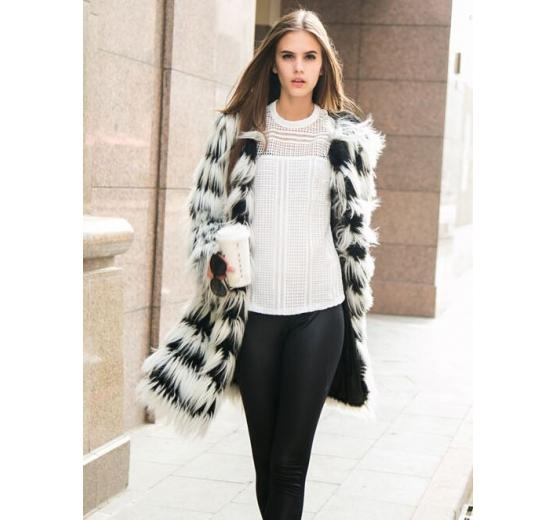 Black and white striped faux fur coat