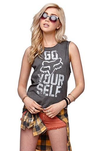 shirt go fox your self grey and white muscle tee t-shirt