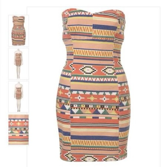 colourful print mini dress aztec sweetheart neckline