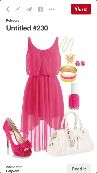 dress pink see through dress sheer summer spring fun beach bright neon love sunshine summer outfits pink dress hot pink dress style fashion summer dress cocktail dress sleek beach dress high low dress outfit party outfits tumblr outfit scoop neck chiffon