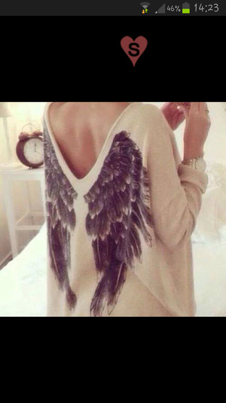 jumper pullover wings wings pullover fl?gel wings sweater sweater blouse shirt white sweater wings pullover flügel angel wings angel wings shirt 3/4 sleeve beige shirt v neck back angel shirt wings shirt fether white