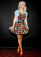 dress,blue,fluffy,squares,short,marina and the diamonds,multicolor,cardigan